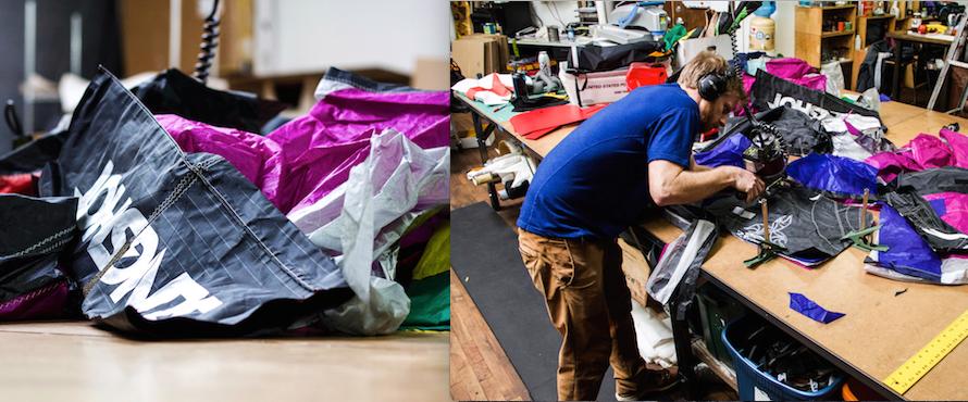 Luke making bags from kites.