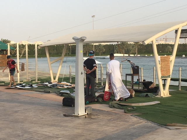 Jeff McKee talking with local UAE resident at the cable park.