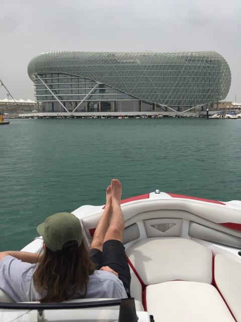 Slingshot designer Carson Wiser kicking back on a boat.