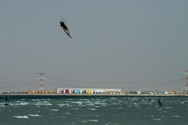 Sam Light kitboarding in Dubai on the Slingshot Refraction.
