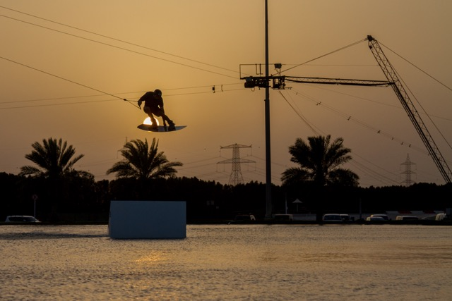 Sunset picture of Sam light at the cable park.