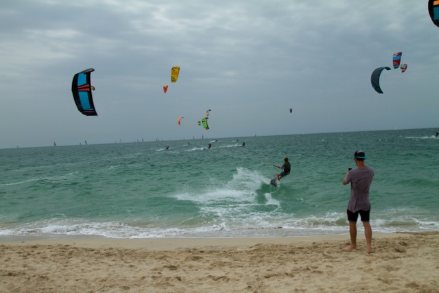 Sam Light kiting upwind in Dubai.