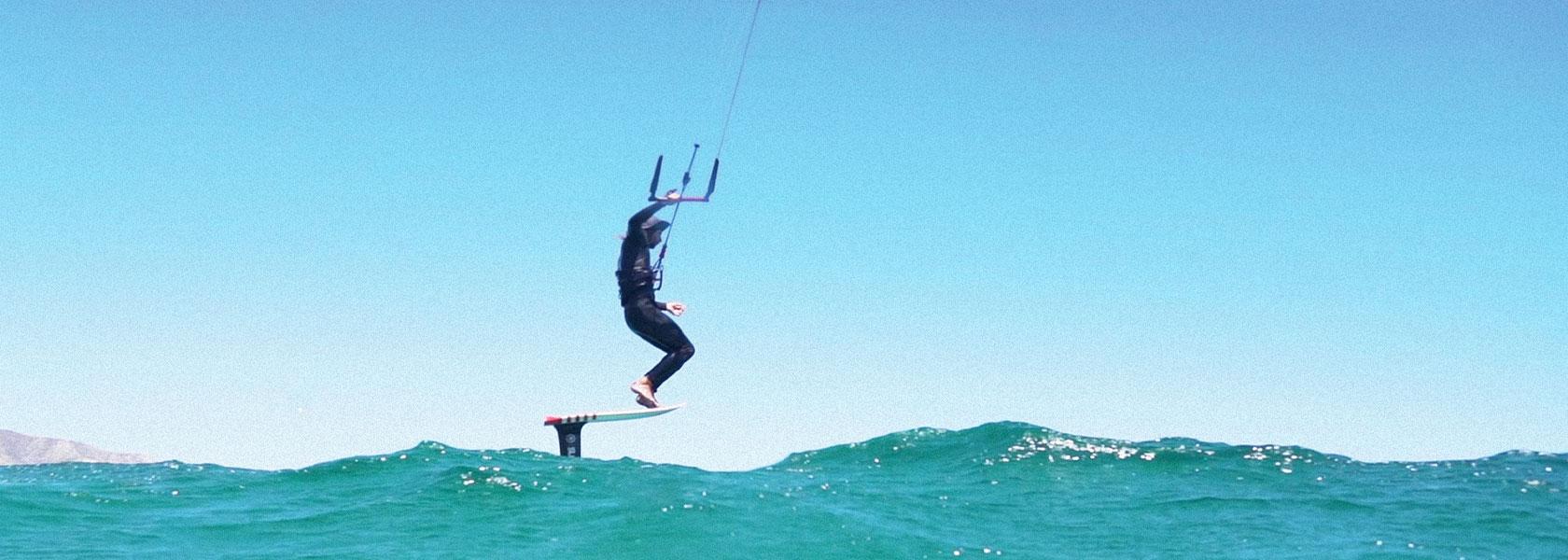 Slingshot team rider Robby Stewart on a kite foil board.